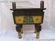 """20"""" Chinese Tibet Classical Bronze Cloisonne Carve Beast Face Incense Burner"""