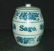 Blue And White Stenciled Wildflower Sago Canister W/lid - Stoneware Brush Mccoy Oh