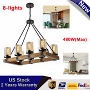 Antique Inspired Wood Pendant Chandelier W/ 8 Candle Lights Adjustable 480w Max