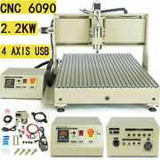 Usb 4 Axis 2200w Vfd Cnc 6090t Router Engraving Drill Mill Diy 3d Cutter Machine