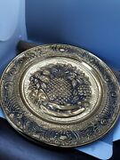 14 Inch Brass Repousse Fruit Wall Hanging Plates