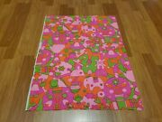 Awesome Rare Vintage Mid Century Retro 70s 60s Psych Org Pnk Grn Hollandfabric