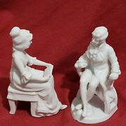 Vtg Set White Porcelain Victorian Man And Lady Sitting In Chair Figurines 6 H