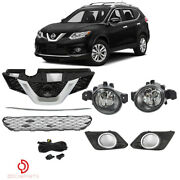 Fits Nissan Rogue 2014-2016 Front Upper Lower Grille And Foglights Kit Set