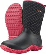 Hisea Womenand039s Rubber Garden Boots Waterproof Insulated Yard Gardening Shoes Mid