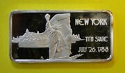New York 11th State One Troy Ounce .999 Fine Silver Bar