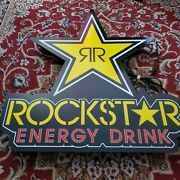 """Rockstar Energy Drink Electric Led Light Wall Sign 30"""" Tall 28"""" Wide"""