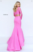 Sherri Hill Pink Two Piece Mermaid Dress Size 0 Prom,wedding,formal,special Day