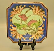 Original Vintage Chinese Hand Painted Enamel Stoneware Charger Centerpiece Plate