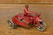 """Vintage Original 1930s Hubley Cast Iron Red 4"""" Cop Police Motorcycle W/ Side Car"""