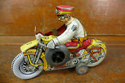 Vintage Marx Tin Litho Toy Wind Up Rookie Police Cop Motorcycle W/ Siren Works