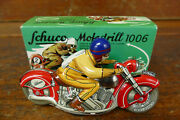 Schuco Germany Replica Tinplate Motodrill 1006 Red And Tan Motorcycle W/ Box