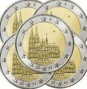 Germany 🇩🇪5x Coins 2€ Euro 2011 Commemorative Koln Cologne Cathedral Unc Adfgj