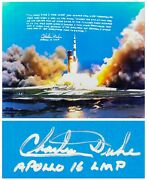 Charlie Duke Signed Large Apollo 16 Launch Color Photo