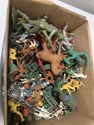 Vintage Lot Horse And Wagons Plastic Army Men Planes Animals Etc.