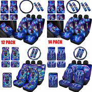 Galaxy Animals Seat Covers Car Floor Mats Seat Belt Pads Steering Wheel Cover 12