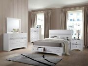 4pc Contemporary Eastern King Size White Bed Bedroom Furniture Panel Headboard