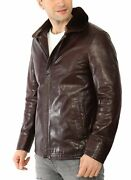 Vogg Menand039s Brown Leather And Python Skin Jacket With Mink Fur Collar Id1015
