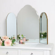 Antique Gold Arched Triple Vanity Mirror Dressing Table Make Up Tabletop Glamour