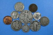 Collection Of Ten 10 Historic Vintage Us Coins Six Of Them Are Silver