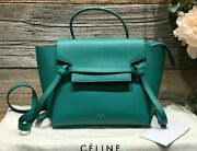 Auth Celine Micro Belt Bag Grained Lake Green Calfskin Silver Hw Leather Handle