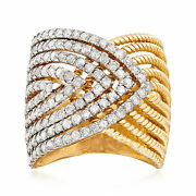 2.00 Ct. T.w. Diamond Multi-row Crossover Ring In 14kt Yellow Gold