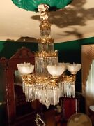 ☆ 6 Lite Four Tier Bronze / Crystal 1800and039s Gas-o-lier Chandelier Light Fix.☆