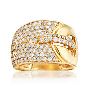 1.70 Ct. T.w. Pave Diamond Buckle Ring In 14kt Yellow Gold