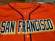 Willie Mays Signed Jersey.beautiful Orange Giants Jersey. Say Hey Sticker On Jer