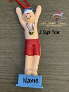 Swimmer Medallion Personalized Christmas Ornament Swim Diver Team Player Sports