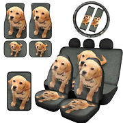 3d Dogs Print Car Seat Covers Combo With Seat Belt+armrest Pads Interior 12/14pc