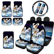 Animals Auto Interior Car Seat Covers With Floor Mats Front Rear Seat Belts 12pc