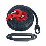 1/2 92and039 Black Synthetic Winch Line Cable Rope 22000lbs + Hawse Fairlead+hook Us
