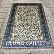 Yilong 4and039x6and039 All-over Handmade Silk Rug Durable Oriental Indoor Carpet H287b