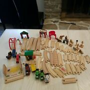 Large Lot Of Wooden Tracks, Trains, Wooden Animals, Brio, Mellissa And Doug,...