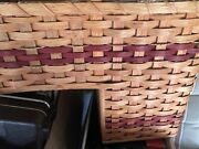 Vtg Country Amish Rustic Wicker Stair Step Basket Magazine Brown Tan Natural Red