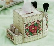 Cosmetics Caddy Tissue Cover And Brush Holder Plastic Canvas Pattern Instructions