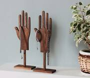Wooden Stand For Jewelry Hand-shaped Ring Stand Bracelets Chains