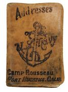 Vtg Wwii Us Navy Leather Addresses Book Camp Rousseau Port Hueneme Ca. Seabees