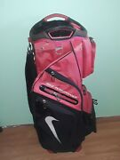 Nike Performance Carry Stand Cart Golf Bag Black/ Red 14 Way- Good Condition