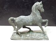 Antique N.muller And Sons Spelter Galloping Horse Stallion Clock Topper Figurine