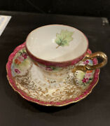 Vintage Tea Cup Saucer Demitasse Chubu China Victorian Style Gold Occupied Japan