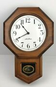 Vintage Seth Thomas Wall Clock Wood Schoolhouse As Is/ For Parts