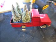 Pottery Barn Red Pickup Truck W Christmas Trees Ornament New