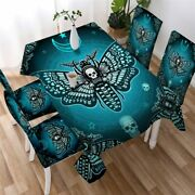 Moon Skull Death Moth Blue Rectangle Tablecloth Chair Covers Dining Table Set