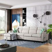 Reversible Sectional L-shaped Sofa Chenille Fabric Movable Ottoman Storage