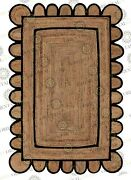 Scallop Jute Black Hand Made Rug Bohemian Decor Customize In Any Size....
