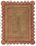 Scallop Jute Red Hand Made Rug Bohemian Decor Customize In Any Size....