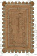 Scallop Jute Powder Blue Hand Made Rug Bohemian Decor Customize In Any Size...