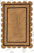Double Border Jute Black Hand Made Rug Bohemian Decor Customize In Any Size...